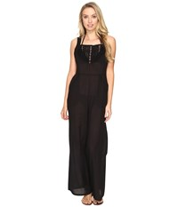 Vitamin A Justine Jumpsuit Cover Up Black Gold Coast Cotton Voile Women's Jumpsuit And Rompers One Piece