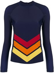 Perfect Moment Chevron Long Sleeve Rash Guard Blue