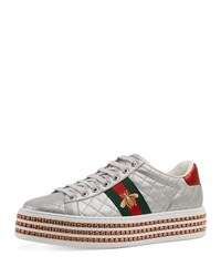 b94b5dab9a5 Gucci Quilted Crystal Platform Sneakers Argento