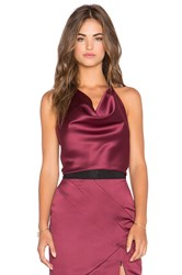 Milly Peau De Soie Wrap Halter Top Burgundy