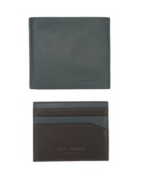 Ted Baker Green English Leather Cardholder And Wallet