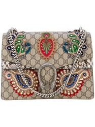 Gucci Dionysus Embroidered Shoulder Bag Women Leather Acrylic Polyester Glass One Size Brown