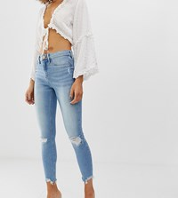 River Island Molly Skinny Jeans With Rips In Mid Wash Blue