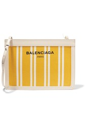Balenciaga Leather Trimmed Striped Canvas Shoulder Bag Yellow