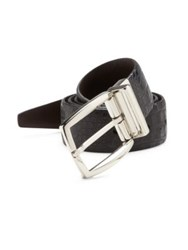Saks Fifth Avenue Croc Embossed Leather Belt Black