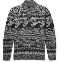 Faherty Wave Jacquard Knit Merino Wool And Alpaca Blend Sweater Unknown