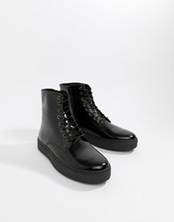 Zign Cupsole Lace Up Boots In Black High Shine