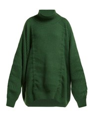 Hillier Bartley Gathered High Neck Cashmere Sweater Green