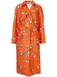 Emilia Wickstead Yves Floral Print Trench Coat Orange