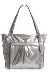 M Z Wallace Mz Harlow Bedford Nylon Tote Metallic Pewter Leather Cococha