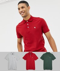 Abercrombie And Fitch 3 Pack Icon Logo Pique Polo Slim Fit In Red Grey Marl Green Multi
