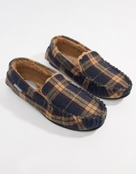 Dunlop Check Moccasin Slipper Navy