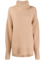 N.Peal Oversized Roll Neck Sweater Neutrals