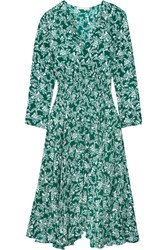 Maje Rayelle Shirred Floral Print Crepe Midi Dress Dark Green