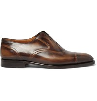 Berluti Victor Burnished Venezia Leather Slip On Oxford Shoes Brown