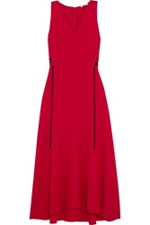 Tome Lace Up Crepe Midi Dress Red
