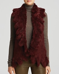 525 America Vest Ruffle Rabbit Fur Oxblood