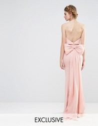 Jarlo Wedding Overlay Maxi Dress With Fishtail And Oversized Bow Back Pale Pink