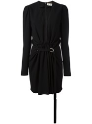 Saint Laurent Gathered V Neck Mini Dress Black