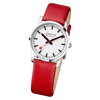 Mondaine Unisex Leather Strap Watch Red White