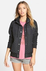 Junior Women's Rvca 'Regulate' Quilted Jacket Aged Black