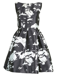 Jolie Moi Pattern Printed Satin Dress Black White