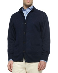 Peter Millar Linen Knit Button Down Cardigan Navy