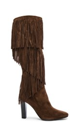 Saint Laurent Suede Lily Fringe Boots In Brown