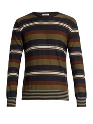 Valentino Striped Wool And Cashmere Blend Sweater Brown Multi