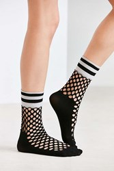 Out From Under Sporty Cuff Fishnet Crew Sock Black
