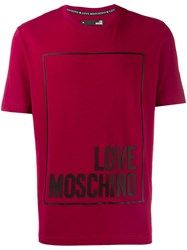 Love Moschino Contrast Logo T Shirt Red