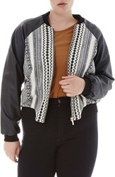 Elvi Plus Size Women's Faux Leather Sleeve Print Bomber Jacket