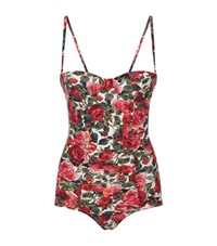 Dolce And Gabbana Rose Print Balconette Swimsuit Female Red
