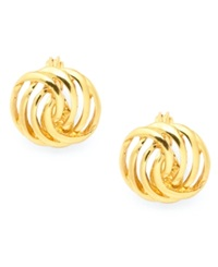 Charter Club Gold Tone Openwork Button Earrings