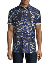 Robert Graham Ocean Depths Short Sleeve Printed Shirt Blue