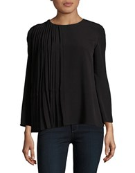 French Connection Pleated Crepe Long Sleeve Top Black