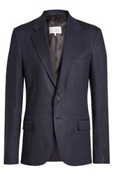 Maison Martin Margiela Blazer With Linen And Virgin Wool Blue