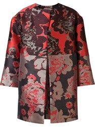 Josie Natori Abstract Floral Pattern Jacket Yellow And Orange