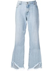 Federica Tosi Frayed Wide Leg Jeans Blue