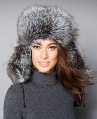 The Fur Vault Black And Silver Fox Fur Trapper Hat Black Silver