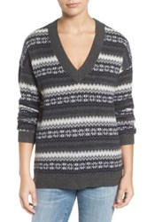 Treasure And Bond Fair Isle Pullover Gray