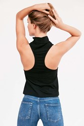 Silence And Noise Milly Mock Neck Racerback Tank Top Black