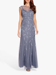Adrianna Papell Cap Sleeve Beaded Gown Cool Wisteria