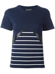 Neil Barrett Lightning Bolt Striped T Shirt Blue
