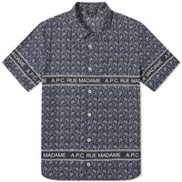 A.P.C. Short Sleeve Logo Pattern Shirt Blue
