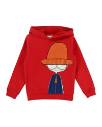 Little Marc Jacobs Hooded Sweatshirt W Mister Terry Patch Size 4 Red