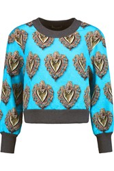 Dolce And Gabbana Printed Jacquard Sweatshirt Blue