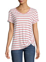 Saks Fifth Avenue Knot Short Sleeve Tee White Pink