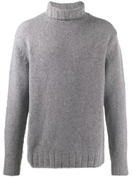 Closed Ribbed Roll Neck Jumper Grey