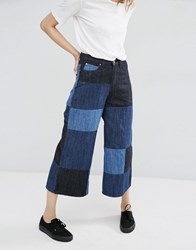 Dr. Denim Dr Lykke Patchwork Wide Leg Culotte Jeans Blue Block